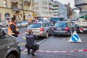 Polizei, Einsatz, Einbruch, Verfolgung, in der Lachen an der Zürcherstrasse in St. Gallen @ Urs Bucher/Tagblatt (Bild: Urs Bucher)