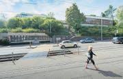 Über der Teufener Strasse thront die Primarschule Riethüsli: Der Neubau lässt auf sich warten. (Bild: Hanspeter Schiess)