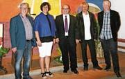Der neu gewählte Verwaltungsrat von links: Daniel Feldmann (Kobelwald), Manuela Gschwend (Oberriet), Ralf Kollefrath (Rüthi-Lienz), Daniel Kühnis (Präsident, Montlingen-Eichenwies) und Markus Pfister (Kriessern). (Bild: pd)