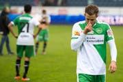 Roy Gelmi trottet nach der Klatsche gegen den FC Luzern vom Platz. (Bild: URS FLUEELER (KEYSTONE))