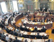 Der Kantonsratssaal: Wo einst der Fürstabt thronte, finden die Sessionen des Kantonsrates statt. (Bild: zVg)
