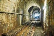 Der Tunnel der Mühleggbahn muss saniert werden: Wasser dringt durch die Wände. (Bild: Verkehrsbetriebe Stadt St. Gallen)