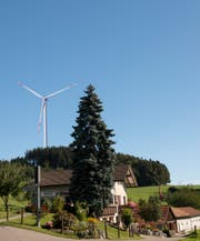 Die Windpark-Gegner befürchten, dass es im Wuppenauer Weiler Greutensberg dereinst so aussieht. (Bild: Bildmontage/Margrit Gähler)