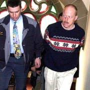 Hugo Portmann (rechts) bei einem Prozess in Münchwilen im Jahr 2001. (Bild: Keystone)