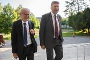 Noch-Stadtrat Nino Cozzio (links) mit seinem möglichen Nachfolger Boris Tschirky. (Bild: Urs Bucher)