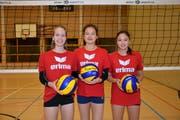 Jasmine Fiechter (Jahrgang 2000), Jasmin Kuch (2002) und Annouk Erni (2003) sind aktuell die drei grössten Talente, die bei Volley Toggenburg eine gute Ausbildung geniessen (v. l.). (Bild: Beat Lanzendorfer)