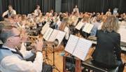 Der grosse Klangkörper der Musikgesellschaft Konkordia Widnau zeigte beim Frühjahrskonzert sein reifes Können. (Bild: Gernot Grabher)
