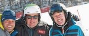Ohne Bernhard Russi (rechts, mit Beni Giger) gäbe es in Pyeongchang keine Skirennen, denn er hat die Pisten gebaut. (Bild: PD)