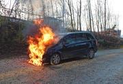 Nachdem sein Auto während der Fahrt zu brennen begann, stellte es der 77-jährige Autofahrer auf einem Kiesplatz in Bottighofen ab. (Bild: Kapo TG)