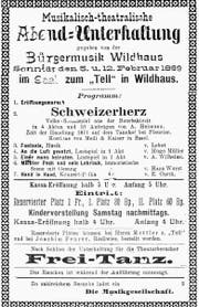 Mit diesem Plakat machte die Bürger- musik auf die Theateraufführung von 1899 aufmerksam.