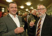 Die neue Spitze des Gossauer Parlaments: Präsident Norbert Hälg (rechts) und Vizepräsident Fredi Mosberger. (Bild: Ralph Ribi)