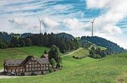 Mit der Windenergie von St. Anton könnte Strom für 40 Prozent der Innerrhoder Haushalte erzeugt werden.Visualisierung: PD