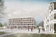 Der Neubau für das Zentrum Rheinauen als freistehendes Gebäude im nachbarschaftlichen Dialog mit dem Altbau. (Bild: Visualisierung: pd)