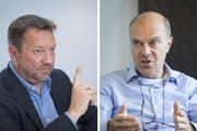 Sind sich nicht mehr grün: FCSG-Präsident Stefan Hernandez und sein Vor-Vorgänger Michael Hüppi. (Bild: Urs Bucher/Ralph Ribi)