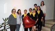 Rosa Wielatt, Sabrina Senn (neu), Karin Thoma (Präsidentin), Manuela Jöhl, Martha Gehrig (verabschiedet), Conny Taudien (verabschiedet), Claudia Meier sowie Sandra Hartmann (neu, von links). (Bild: PD)