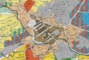 Altstätten will eine Planungszone erlassen, in der Sexgewerbe nicht mehr erlaubt ist. Betroffen sind die Kernzone 1 (braun) und die Kernzone 2 (beige). (Bild: Screenshot/Geoportal)
