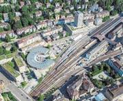 Auf dem Parkplatz zwischen Lokremise und Fachhochschule ist unter anderem ein neues Hochhaus geplant. (Bild: Reto Martin)