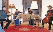 Meisterhaftes Zusammenspiel: Das Quartett Minguet (von links) mit Ulrich Isfort, 1. Violine, Anette Reisinger, 2. Violine, Aroa Sorin, Viola, und Matthias Diener, Violoncello. (Bild: Max Pflüger)