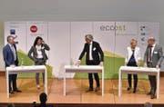 Experten unter sich: (Von links) Erich Eigenmann, Caroline Magerl-Studer, Moderator Urs Wehrle, Christine Bolt, Urs Frey. (Bild: pd)
