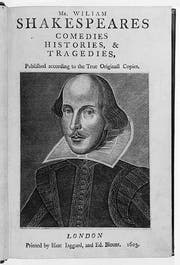 The Arundel First Folio - Engraving of William Shakespeare by Martin Droeshout. Copyright of the Governors of Stonyhurst College