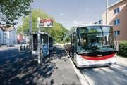 Die VBSG-Busse der Linie 3 wenden vielleicht bereits in zweieinhalb Jahren nicht mehr am Hauptbahnhof, sondern fahren nach Abtwil weiter. (Bild: Hanspeter Schiess)