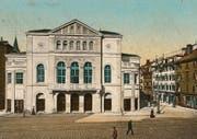 Das alte Theater um 1910. Rechts die Einmündung der Katharinengasse.