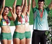 An der Team-SM gewinnt Alina Tobler (vorne) mit ihren Kollegen von der LC-Brühl Bronze. (Bild: pd)