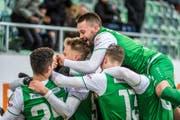 Der FC St.Gallen jubelt über die nächsten drei Punkte. (Bild: Michel Canonica)