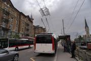 """Demonstration der neuen Bus-Fahrtechnik """"Energy Pack"""". (Bild: Michel Canonica)"""