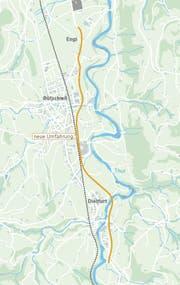Umfahrung Bütschwil: Die Umfahrung Bütschwil ist seit 2014 im Bau. Sie soll 2020 fertig werden und das Dorf vom Durchgangsverkehr entlasten. Der Kanton prognostiziert für 2018 einen täglichen Durchschnittsverkehr von 18'000 Fahrzeugen. (Bild: Tiefbauamt des Kantons St.Gallen/Karte: sgt)