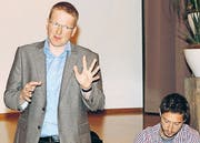 Robert Nothnagel (links) und Endrio Bütler informierten über die Pläne der Holcim Kies und Beton AG.