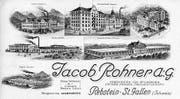 Die Visitenkarte der Jacob-Rohner-Werke kurz vor dem Ersten Weltkrieg gibt einen guten Überblick über den Fabrikanten. (Bild: pd)