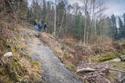 Ein Erdrutsch hat den Wanderweg entlang der Sitter in Mitleidenschaft gezogen. Gemeindevertreter nehmen den Schaden auf. (Bild: Urs Bucher)