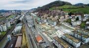 Bauboom im Westen: In Bruggen entstehen derzeit 200 Wohnungen, 9 Einfamilienhäuser und 4 Villen. (Bild: Urs Bucher und Benjamin Manser (5. Januar 2018))
