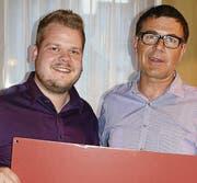 Nationalratskandidat Dominik Dietrich (links) und Kantonsratskandidat Roland Bischof. (Bild: pd)