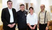 Sie zeichnen für den Restaurationsbetrieb verantwortlich: von links Geschäftsführer Marc Borer, Grillmeister Nush Nushi, Cornelia Oettli, Leiterin Gastronomie, und Restaurationschef Fatmir Fazlji. Bild: Philipp Stutz