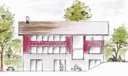 Wie das neue Pfadiheim ungefähr aussehen soll, wurde bereits skizziert. (Bild: Skizze: pd)