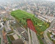 Die Autobahn soll einen Deckel (rot) erhalten, auf dem eine neue grosse Olma-Halle gebaut werden könnte. (Bild: Visualisierung PD)