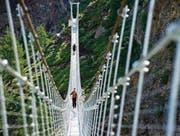 Die geplante Brücke zwischen Grub SG und Grub AR wird nicht ganz so gross wie diese in Randa im Wallis. (Bild: ky/Jean-Christophe Bott)