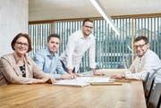 Erfolgreiche Unternehmerfamilie: Jacqueline, Pascal, Matthias und Martin Huber. (Bild: PD)