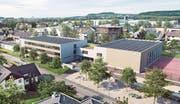 Die neue Anlage an der Schwarzenbacher Schulstrasse im Modell: links das Schulhaus, daneben die Mehrzweckhalle und der Allwetterplatz.Visualisierung: PD