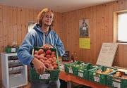 Der «Beeribuur» Roman Schildknecht in seinem Hofladen in Mörschwil. Im Moment haben Äpfel Hochsaison. (Bild: Nina Rudnicki)