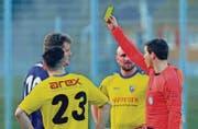 Die erste gelbe Karte gibt einen Strafpunkt in der Fairness-Tabelle und kostet den Verein oder den Spieler in der Regel 35 Franken. (Bild: Urs Nobel)