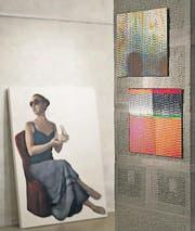 Arbeiten von Claudia Valer (links) und Andy Guhl. (Bild: Hanspeter Schiess)