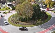 Der Engel-Kreisverkehr in Lustenau, Drehscheibe Richtung Hohenems/Diepoldsau-Schmitter, Dornbirn und A14, Widnau, Au, Hard/Bregenz. (Bild: René Schneider)