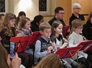 Die «Flauteenies» am Werk, die zusammen mit «The Woody Mix» Walzermelodien präsentierten. (Bild: Ulrike Huber)