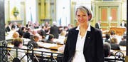 Andrea Schöb aus Staad ist im Kommando der Berufsfeuerwehr der Stadt St. Gallen für den Bereich Finanzen zuständig. Seit gestern ist sie auch Kantonsrätin. (Bild: Max Tinner)