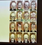 Die Karikatur zeigt die Abfolge der russischen Staatschefs seit Lenin, überschrieben mit «mit Haaren» und «kahlköpfig». Am Ende wechseln sich nur noch Vladimir Putin und Dmitrij Medvedev ab. (Bild: Sabine Schmid)