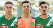 Der FC St.Gallen 1879 nimmt die drei Nachwuchsspieler Alessandro Kräuchi, Nico Krucker und Noah Blasucci kommende Saison in den Kader der Profimannschaft auf. (Bild: Pd)
