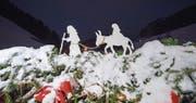 In Mosnang steht seit dem letzten Freitag der grösste Adventskranz der Welt. (Bild: Urs Bucher)